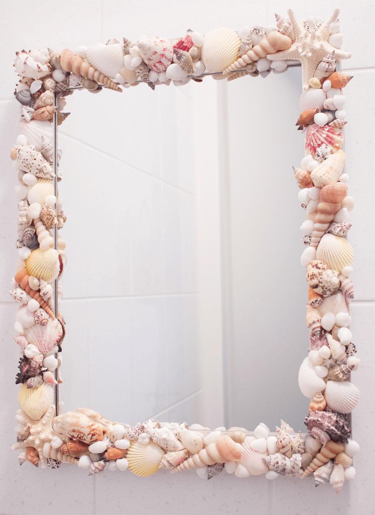 Diy spiegel met schelpen for Spiegel magazi