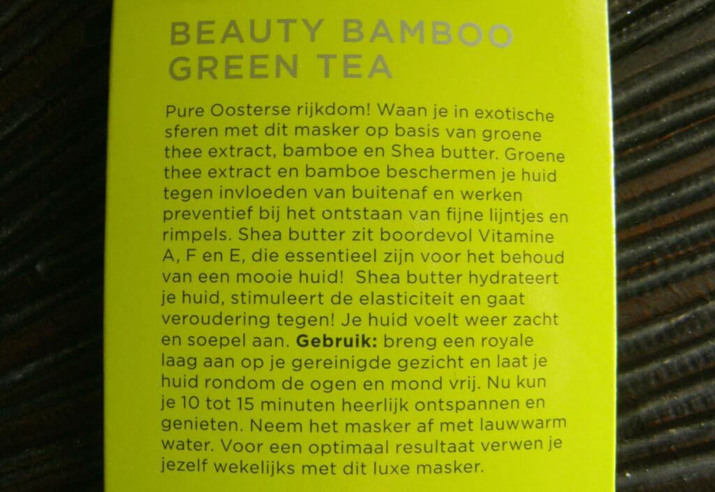 Review - Dr. Van der Hoog Beauty Bamboo Green Tea masker - MindandBeauty.nl