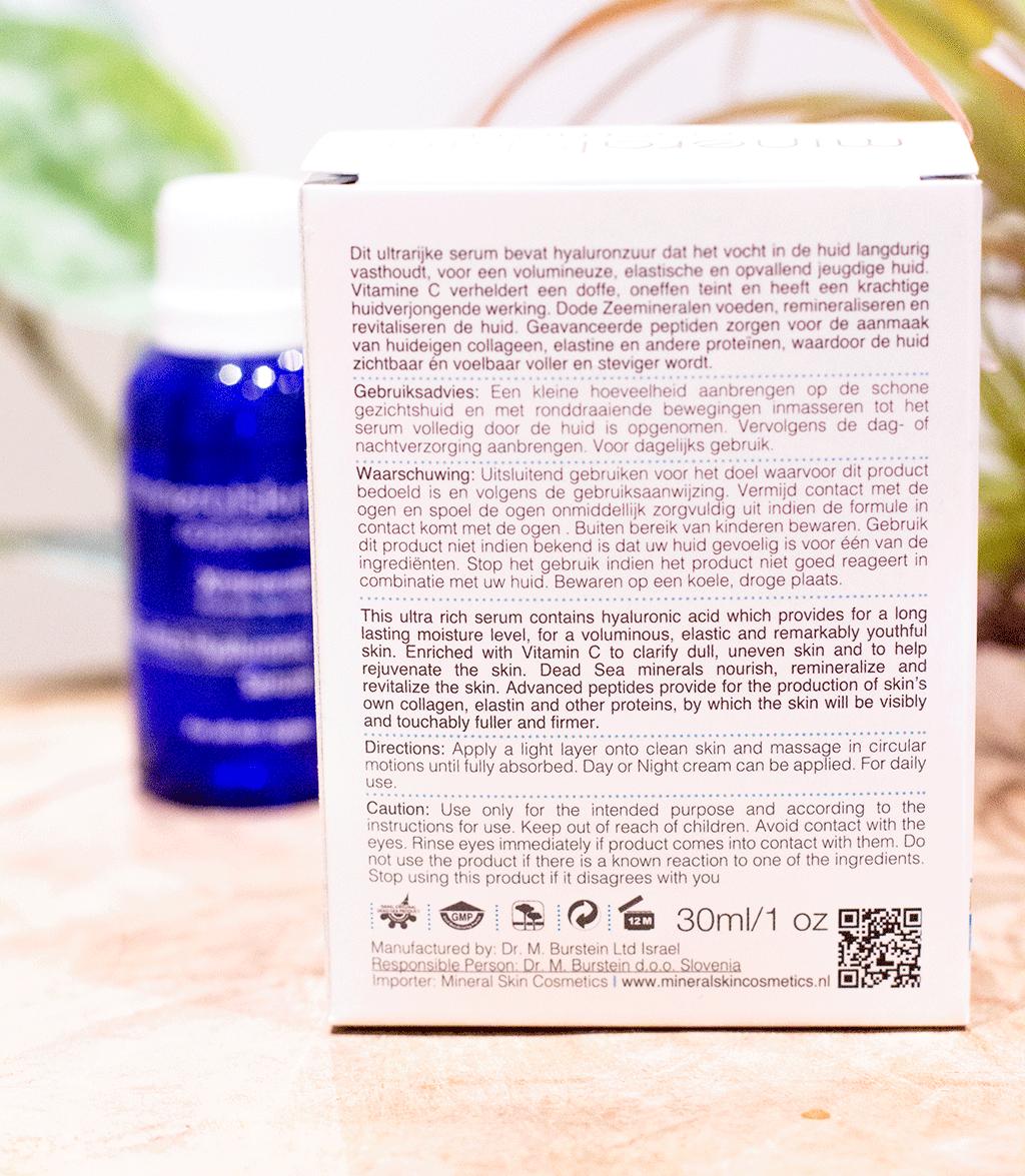 MindandBeauty.nl Review rijk hyaluronzuur serum van Mineral Skin Cosmetics