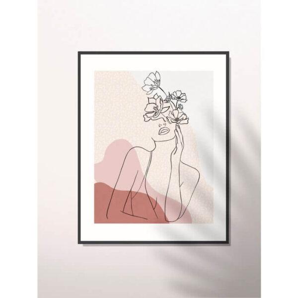 Artwork dame in bloemen Aurora by Anne Miegielsen