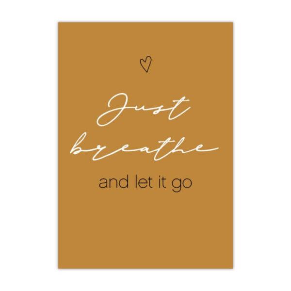 Empowering kaart A6 just breath and let it go vrouwelijke ondernemer
