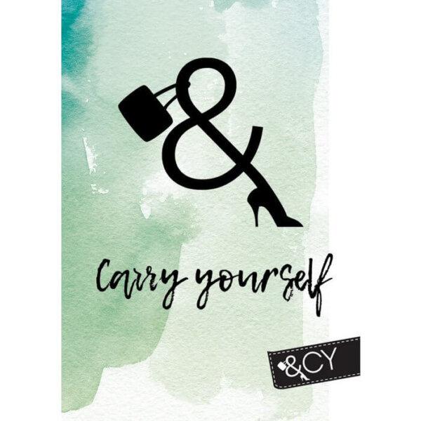 Kaart A6 vrouwlijke ondernemer met tekst Carry Yourself