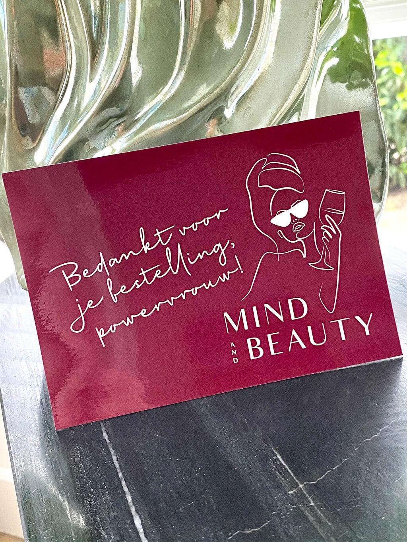 Branded drukwerk webshop MindandBeauty.nl kaartje met bedankt voor je bestelling powervrouw