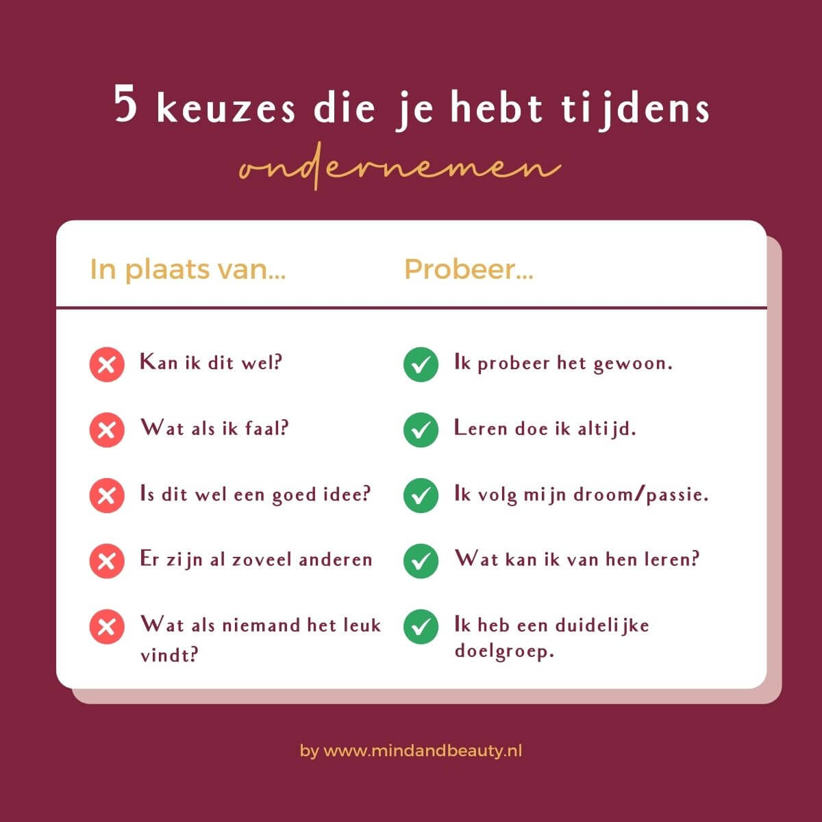Ondernemerstips 5 keuzes die je hebt tijdens ondernemen MindandBeauty.nl
