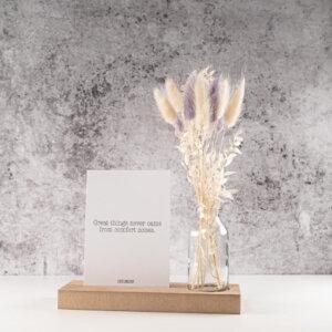 Droogbloemen cadeau met kaartje vaste en houder