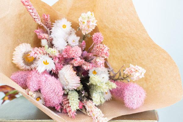 Droogbloemen boeket groot roze